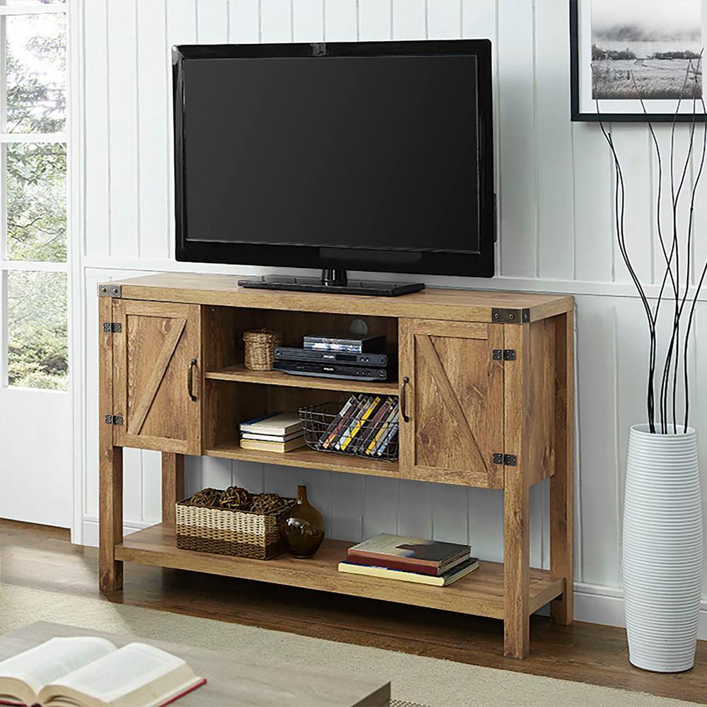 "Walker Edison Furniture Company 52"" Rustic Modern Farmhouse TV Stand - Barnwood"