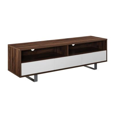 Modern 3-Drawer Dark Walnut Low TV Console for TV's up to 66 in.