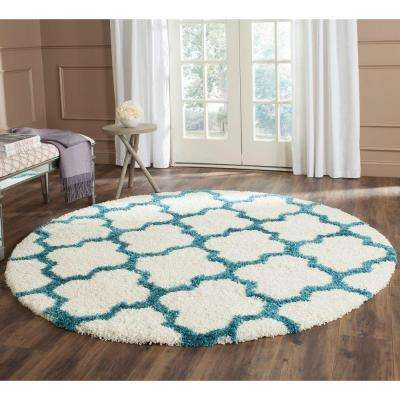 Kids Shag Ivory Blue 7 Ft X Round Area Rug