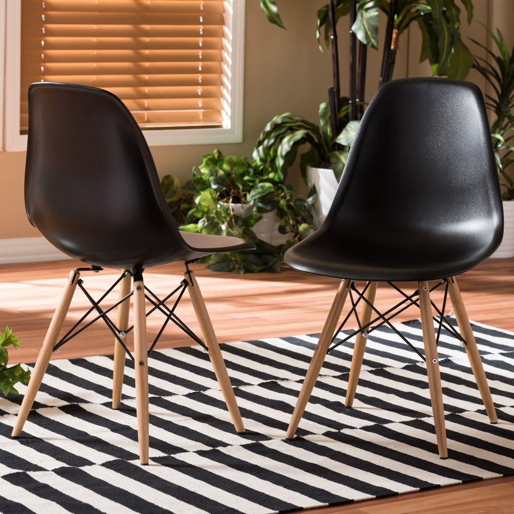 Baxton Studio Azzo Black Plastic Dining Chairs (Set of 2)
