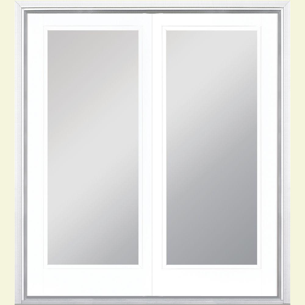 Masonite 72 in. x 80 in. Ultra White Prehung Right-Hand Inswing Full Lite Steel Patio Door with Brickmold