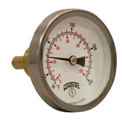 2.5 in. Dial Hot Water Thermometer with 3/4 in. Lead-Free Brass Sweatwell and Temperature Range of 30°-250° F/C