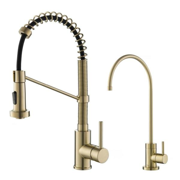 Bolden Commercial 1-Handle Pull-Down Kitchen Faucet and Purita Water Filtration Faucet in Brushed Gold