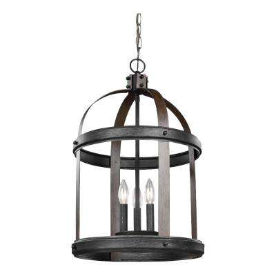 Lonoke 14.25 in. W. 3-Light Weathered Gray and Distressed Oak Hall-Foyer Pendant with Dimmable Candelabra LED Bulbs