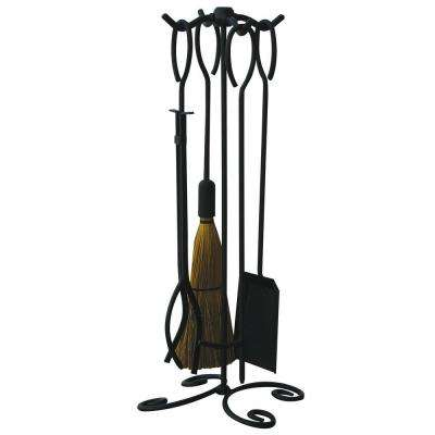 Black Wrought Iron 5-Piece Fireplace Tool Set with Ring Handles