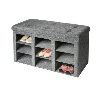 Gray 9-Bin Tufted Entryway Shoe Storage Bench