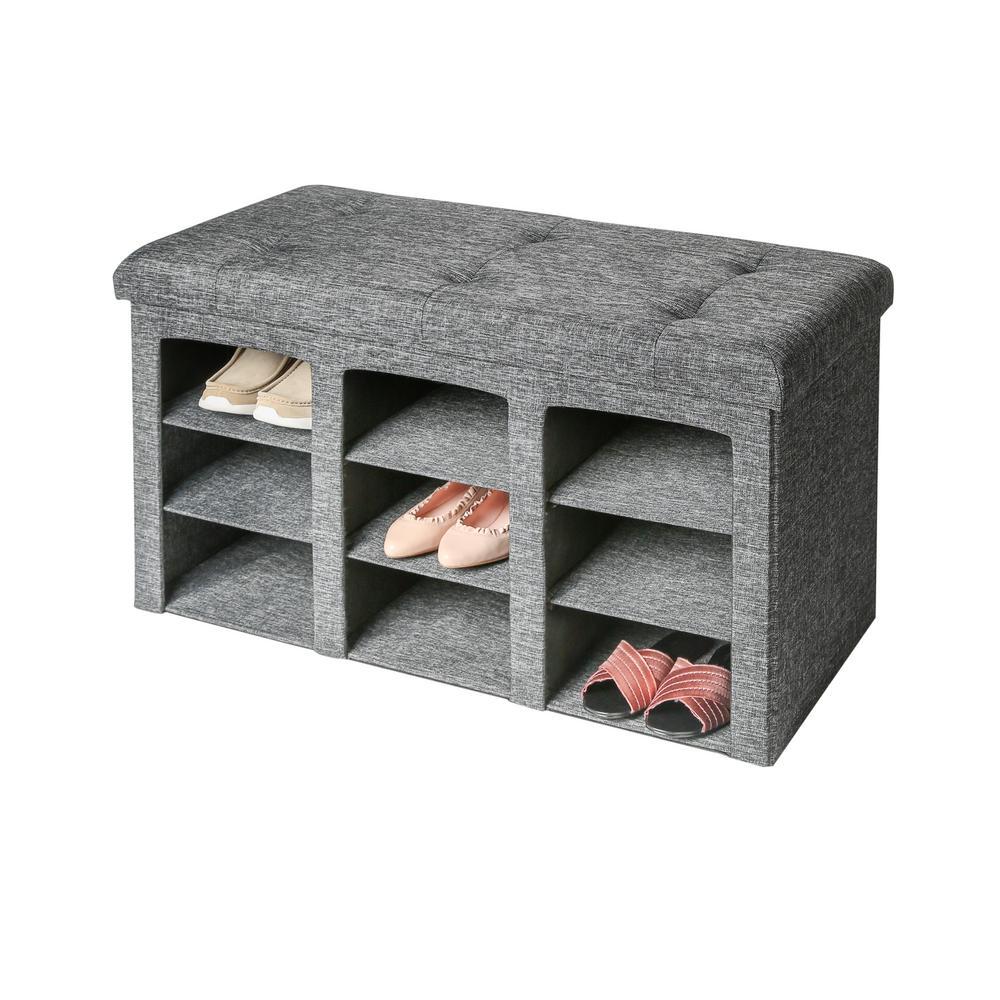 Gray 9-Bin Tufted Entryway Shoe Storage Bench