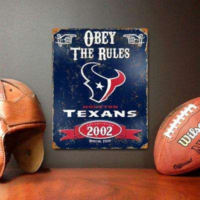 14.5 in. H x 11.5 in. D Heavy Duty Steel Houston Texans Embossed Metal Sign Wall Art