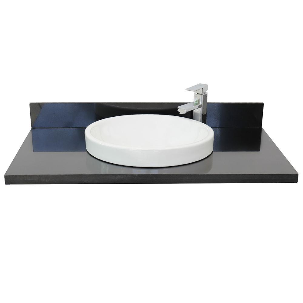 Ragusa III 37 in. W x 22 in. D Granite Single Basin Vanity Top in Black with White Round Basin