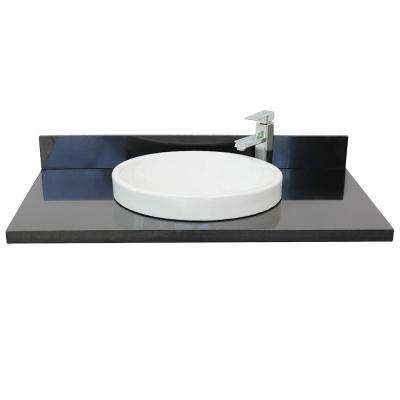 Ragusa III 37 in. W x 22 in. D Granite Single Basin Vanity Top in Black with White Round Basin