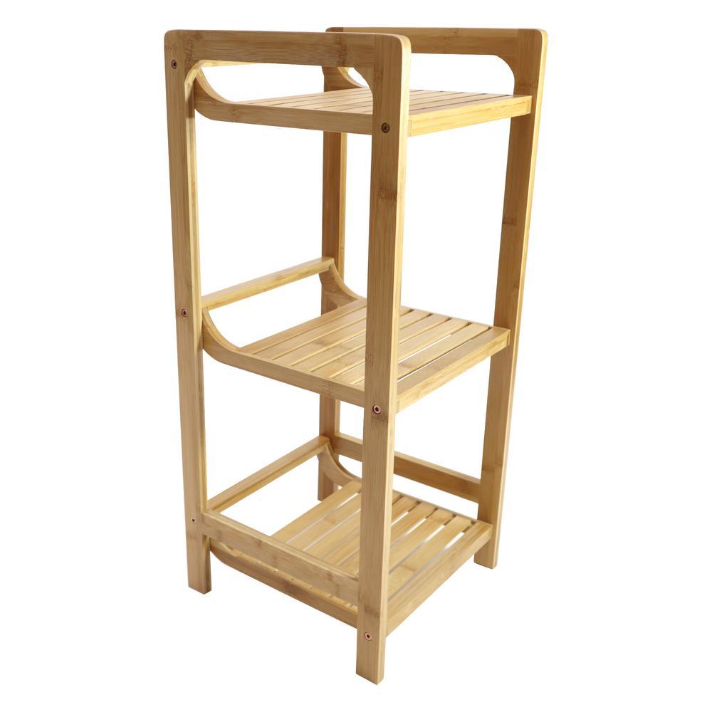 Redmon 3-Tier Bamboo Shelving Unit (12 in. W x 28 in. H x 12 in. D)