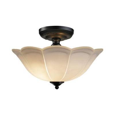 3-Light Matte Black Semi Flush Mount