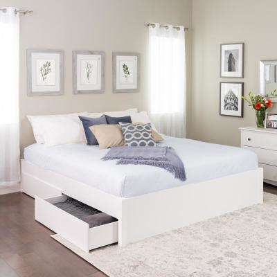 Select White King 4 Post Platform Bed With 2 Drawers