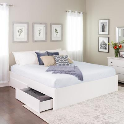 Select White King 4-Post Platform Bed with 2-Drawers