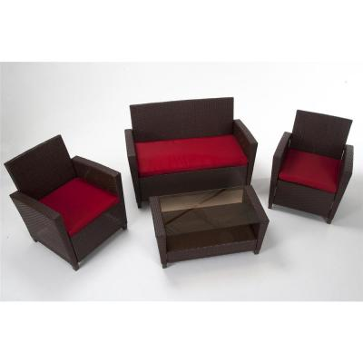 Brown 4-Piece Resin Wicker Outdoor Patio Deep Seating Conversation Set with Red Cushions