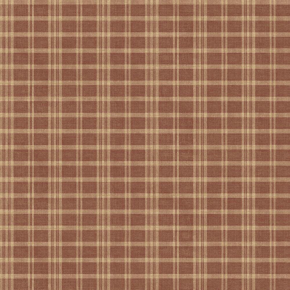Chesapeake Prairie Dark Red Gingham Wallpaper Sample-CCB02142SAM ...