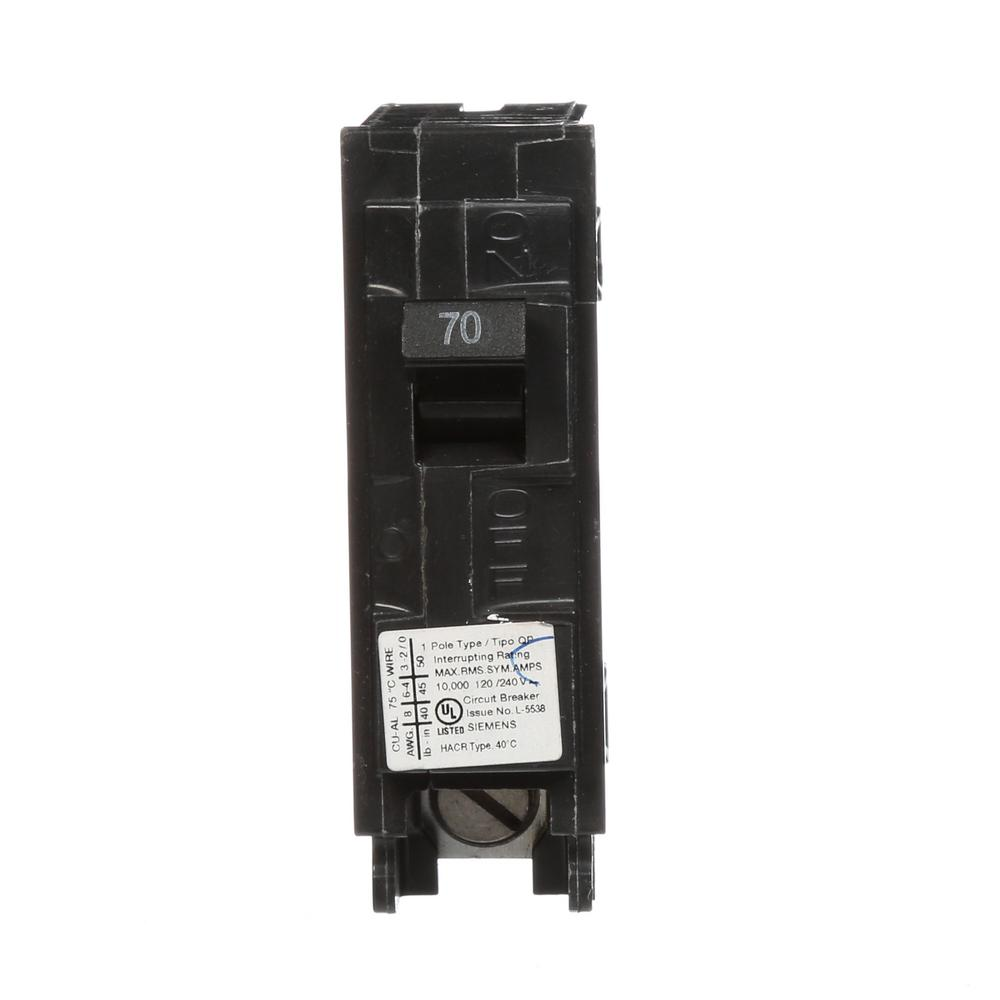 siemens 70 amp 1 pole 10 ka type qp circuit breaker q170 the home depot. Black Bedroom Furniture Sets. Home Design Ideas