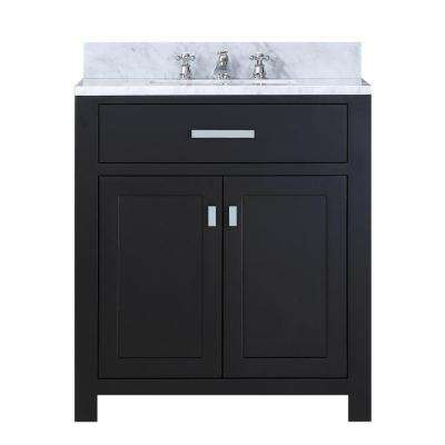 30 in. Vanity in Espresso with Marble Vanity Top in Carrara White