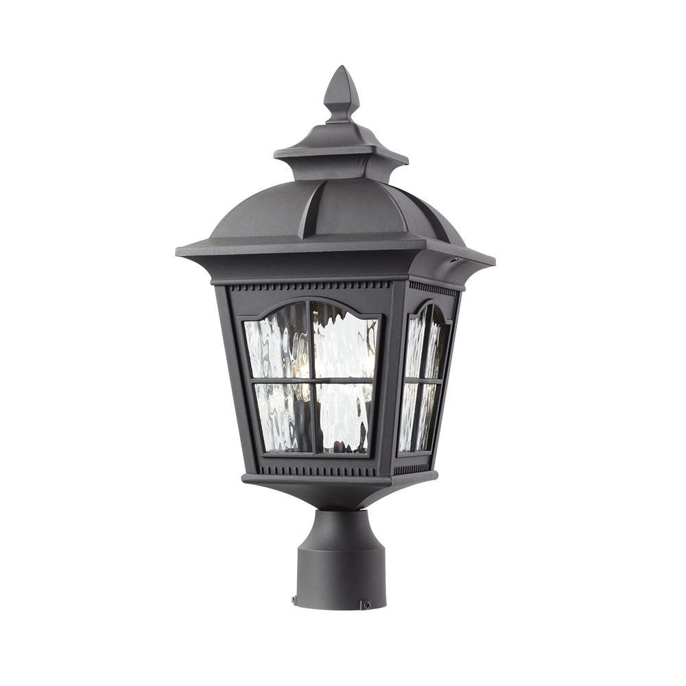 Square 2-Light Outdoor Black Post Light