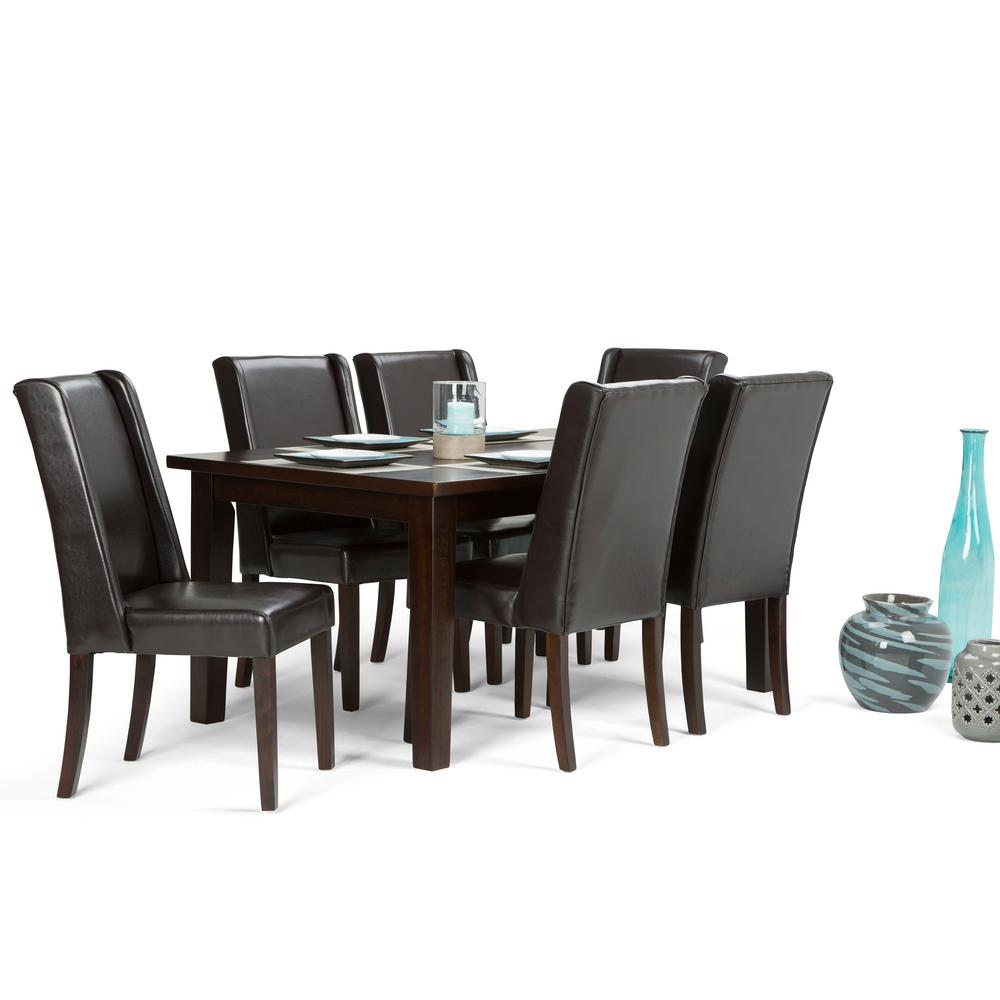 Simpli home sotheby 7 piece tanners brown dining set for 7 piece dining room sets under 1000