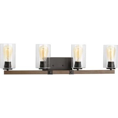 Barnes Mill Collection 4-Light Antique Bronze Bathroom Vanity Light with Glass Shades