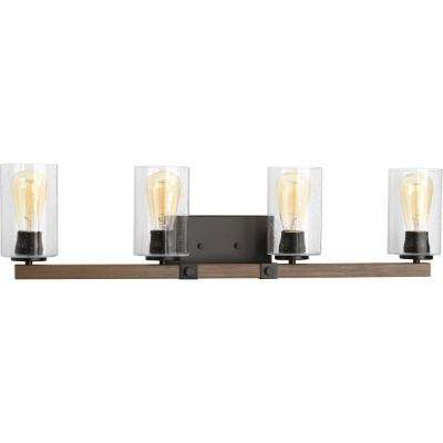 Barnes Mill Collection 4-Light Antique Bronze Vanity Light with Seeded Glass Shades