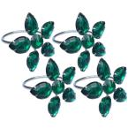 2 in. x 1.5 in. Crystal Green Flower Napkin Rings (Set of 4), Metal