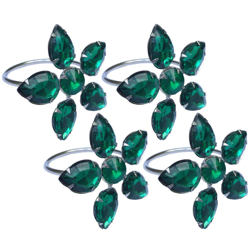 2 in. x 1.5 in. Crystal Green Flower Napkin Rings (Set of 4), Metal