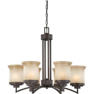 6-Light Dark Chocolate Bronze Chandelier with Saffron Glass Shade