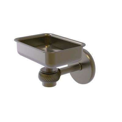 Satellite Orbit One Wall Mounted Soap Dish with Twisted Accents in Antique Brass