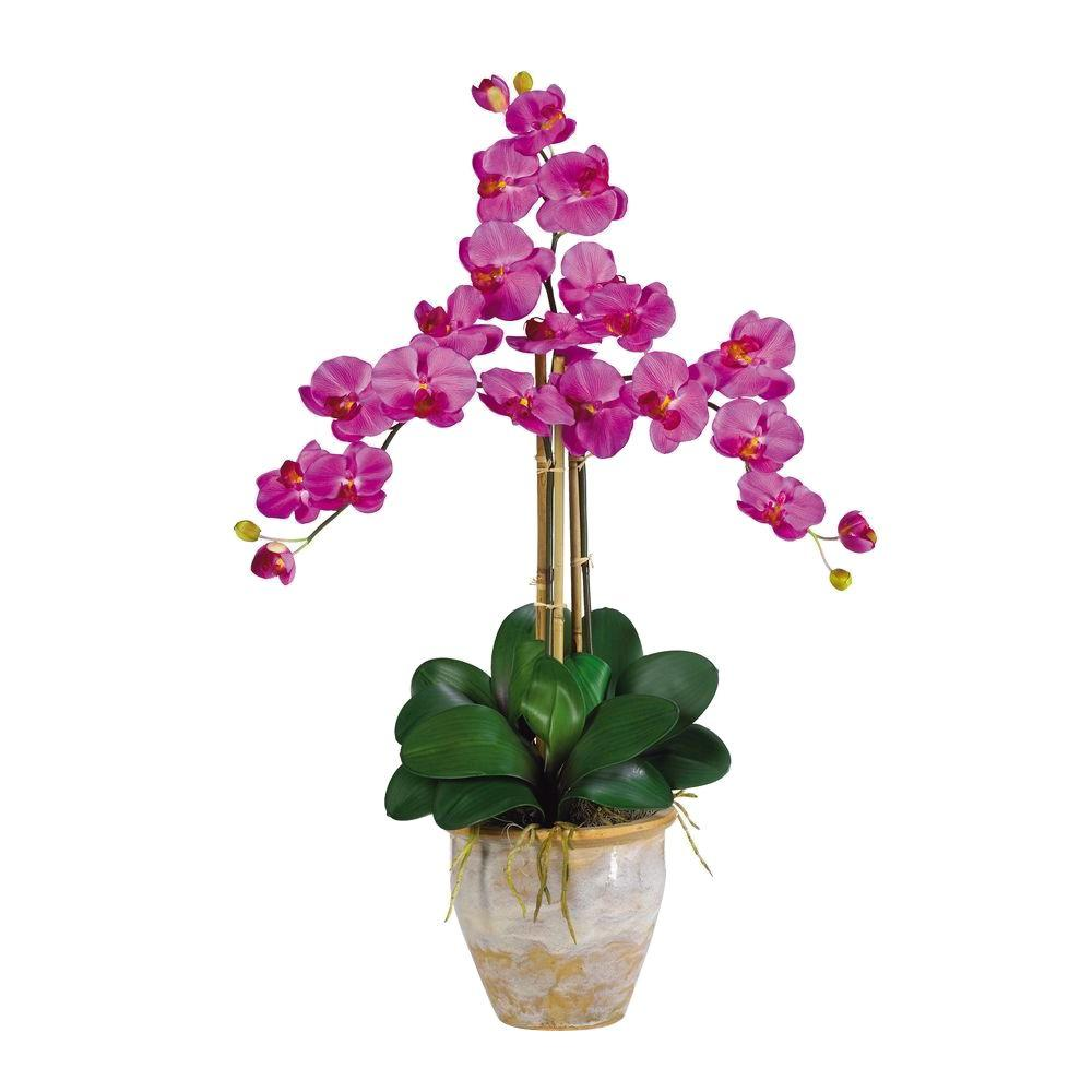 Nearly Natural 27 in. Triple Stem Phalaenopsis Silk Orchid Flower Arrangement Enjoy the maintenance-free beauty of silk orchids with the Nearly Natural 27 in. Triple Stem Phalaenopsis Silk Orchid Flower Arrangement. The arrangement features a lovely variety of vibrant pink flowers, green orchid leaves and natural bamboo. Each of the plant's 3 orchid stems has 6 flowers and 2 buds, creating a full, robust appearance.