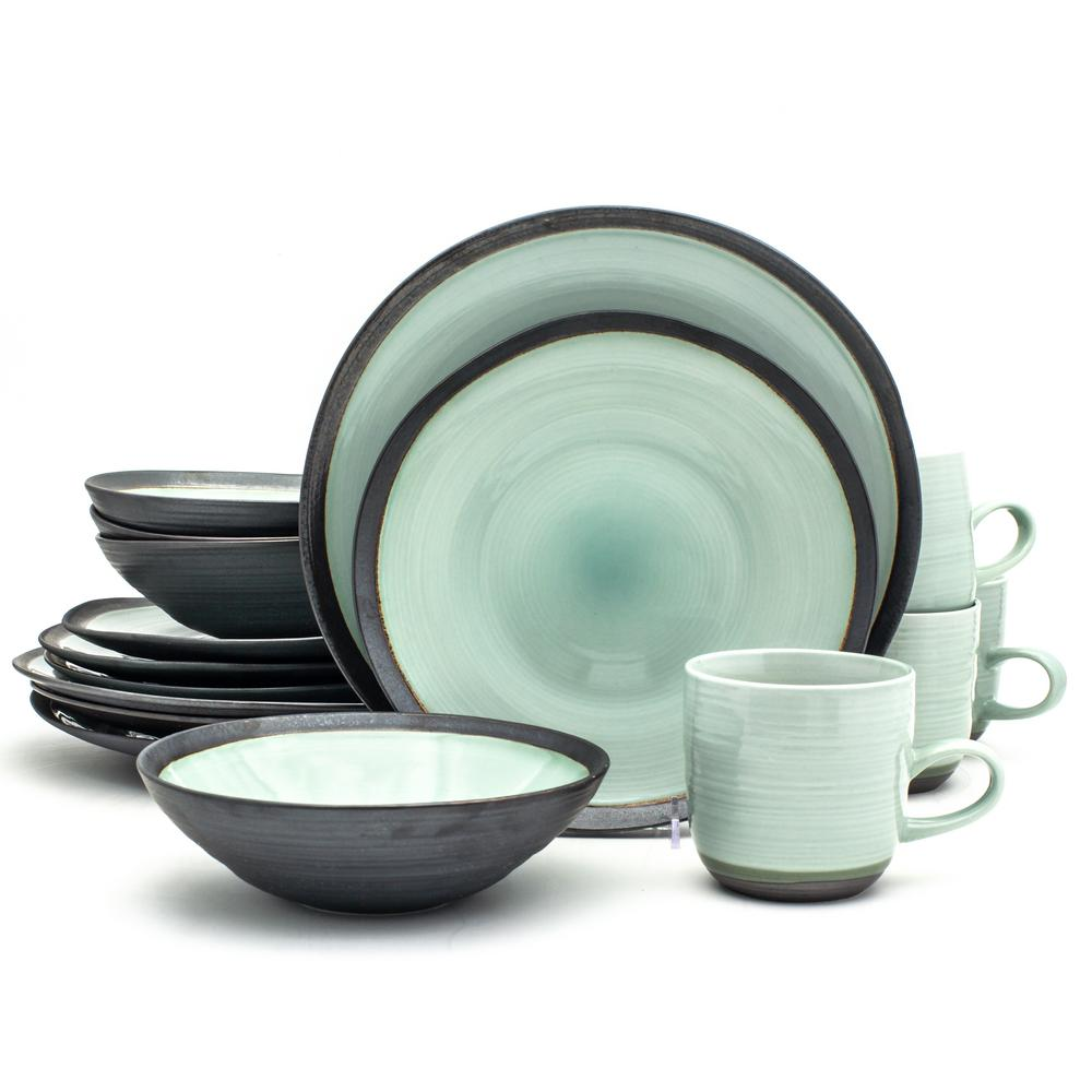 Diana 16 Piece Reactive Metallic Porcelain Dinnerware Set