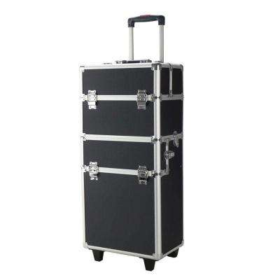 0.8 ft. x 2.5 ft. x 14 in. 3-in-1 Draw-Bar Box Design Portable Metal Makeup Case Black