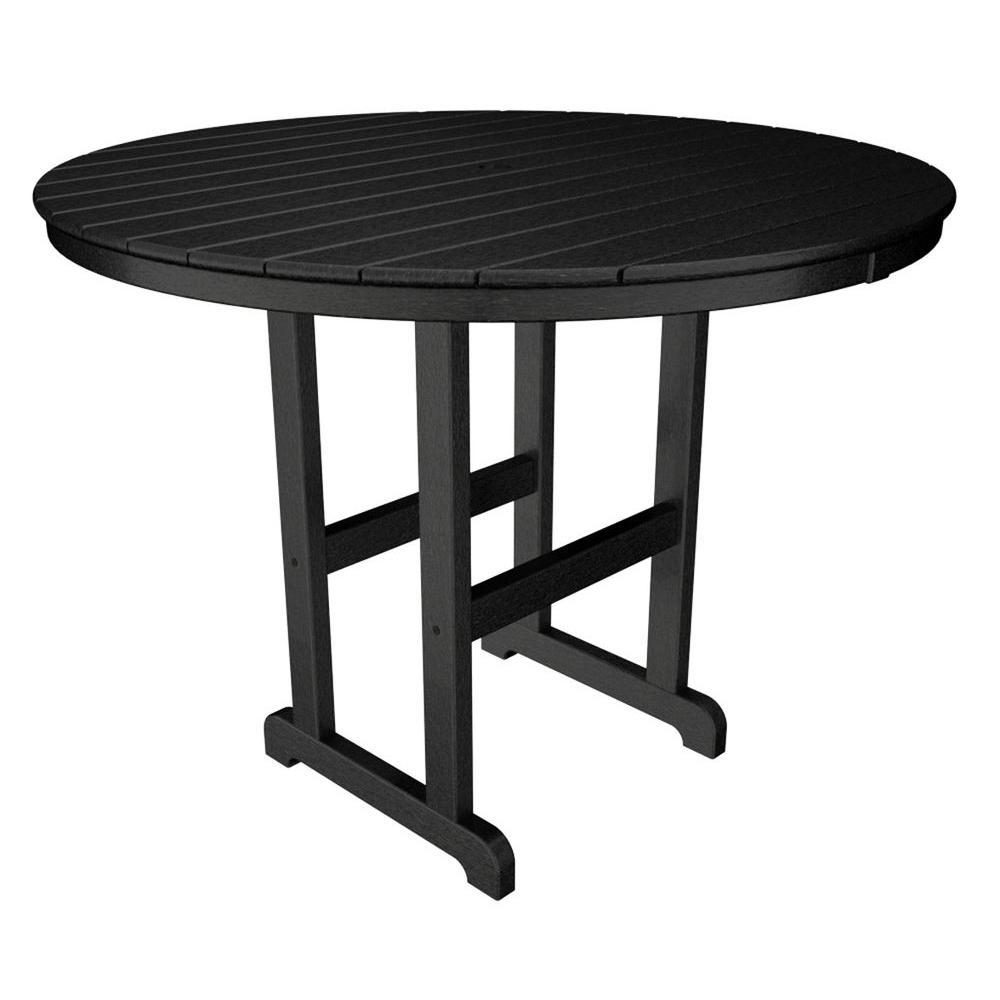 La Casa Cafe 48 in. Black Round Plastic Outdoor Patio Counter Table