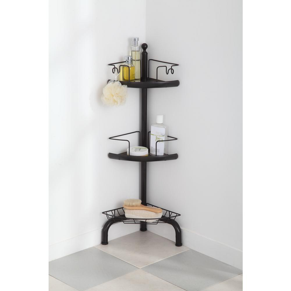 Home Zone 3 Tier Adjustable Corner Shower Caddy, Oil-Rubbed Bronze ...