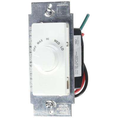 1.5 Amp Decora Single Pole Rotary Step Fan Speed Control, White with Ivory and Light Almond Color Faces Included