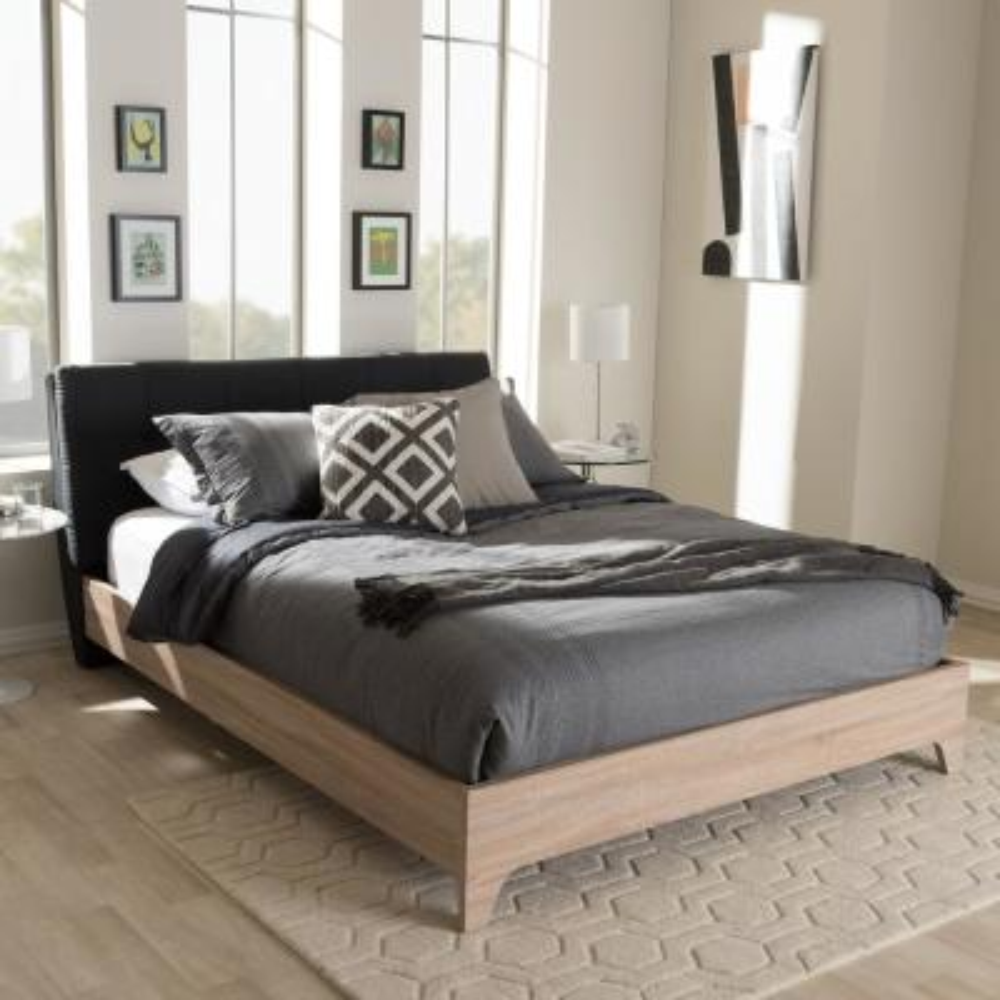 Adelia Mid-Century Dark Gray Fabric Upholstered Queen Size Bed