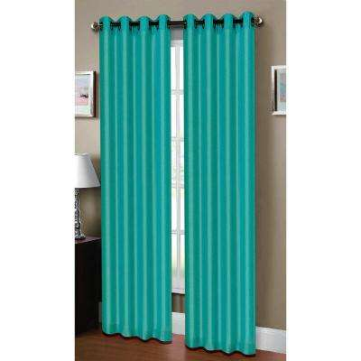 Semi-Opaque Raphael Heathered Faux Linen 54 in. W x 84 in. L Grommet Extra Wide Curtain Panel in Dark Turquoise