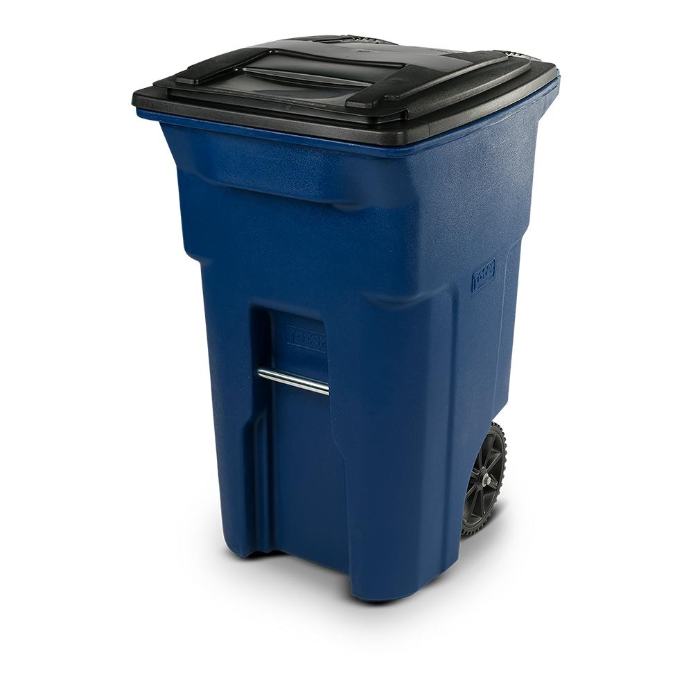 Toter 64 Gal. Blue Trash Can with Wheels and Attached Lid