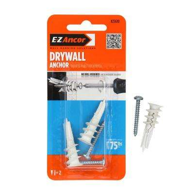 Twist-N-Lock 75 lbs. #8 x 1-1/4 in. Philips Zinc-Plated Nylon Flat-Head Drywall Anchors with Screws (2-Pack)