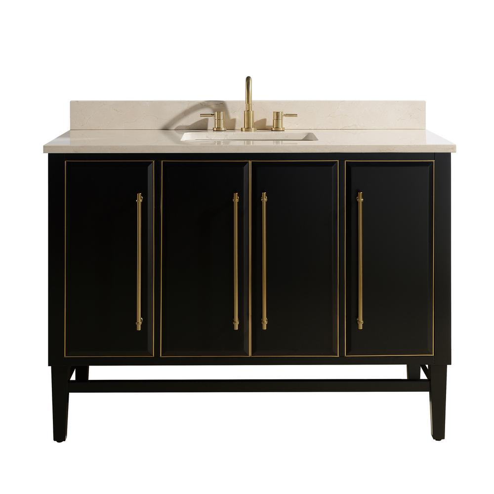 Avanity Mason 49 in. W x 22 in. D Bath Vanity in Black with Gold Trim with Marble Vanity Top in Crema Marfil with White Basin