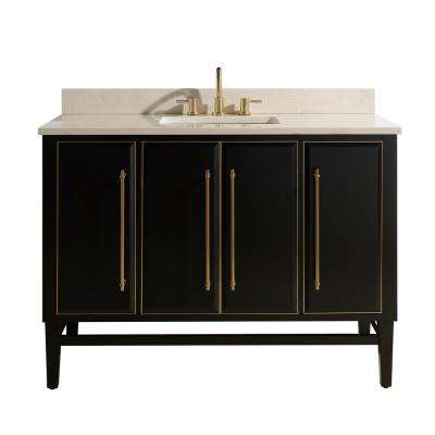 Mason 49 in. W x 22 in. D Bath Vanity in Black with Gold Trim with Marble Vanity Top in Crema Marfil with White Basin