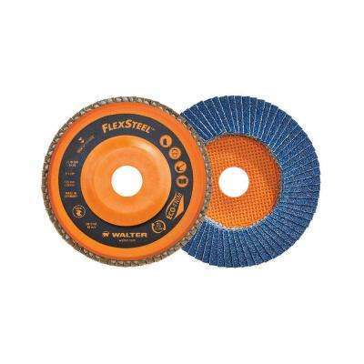 FLEXSTEEL 5 in. x 7/8 in. Arbor x GR40 High Performance Flap Disc (10-Pack)