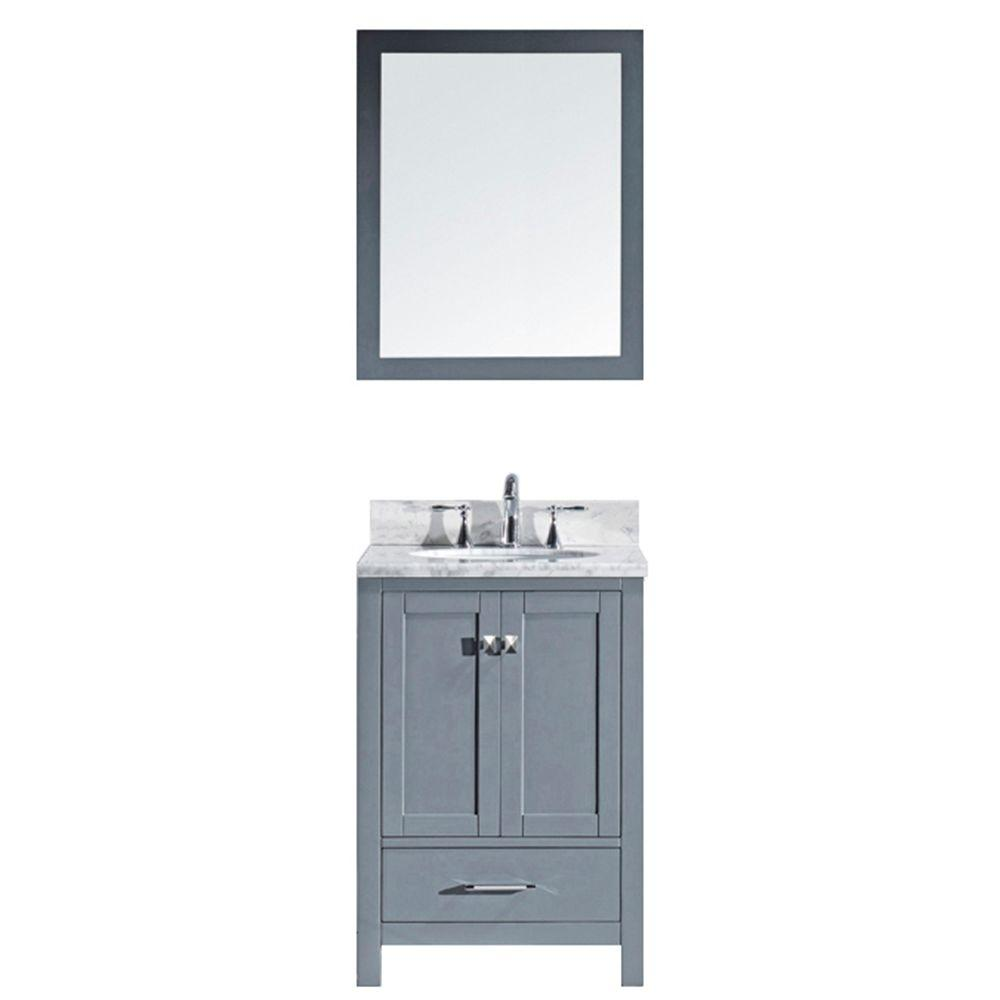 Caroline Avenue 25 in. W Bath Vanity in Gray with Marble