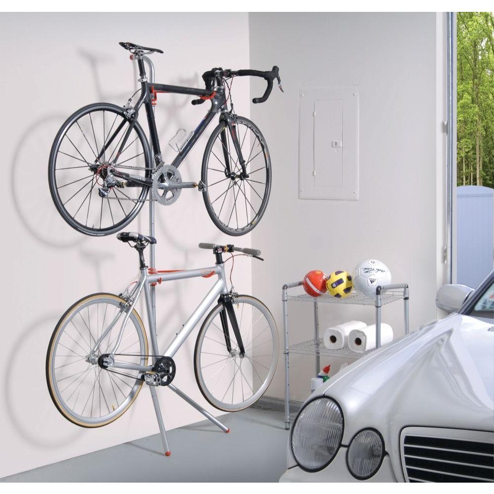 Bike Garage Storage Stand Two Bicycles Rack Arm Space Saving Adjustable Height