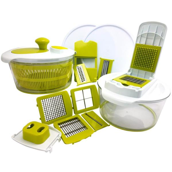 10-in-1 Multi-Use Salad Spinner with Slicer, Dicer and Chopper