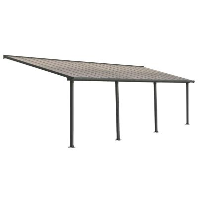 Olympia 10 ft. x 30 ft. Grey/Bronze Patio Cover Awning