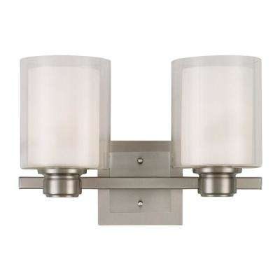 Oslo 2-Light Satin Nickel Indoor Bath or Vanity Light