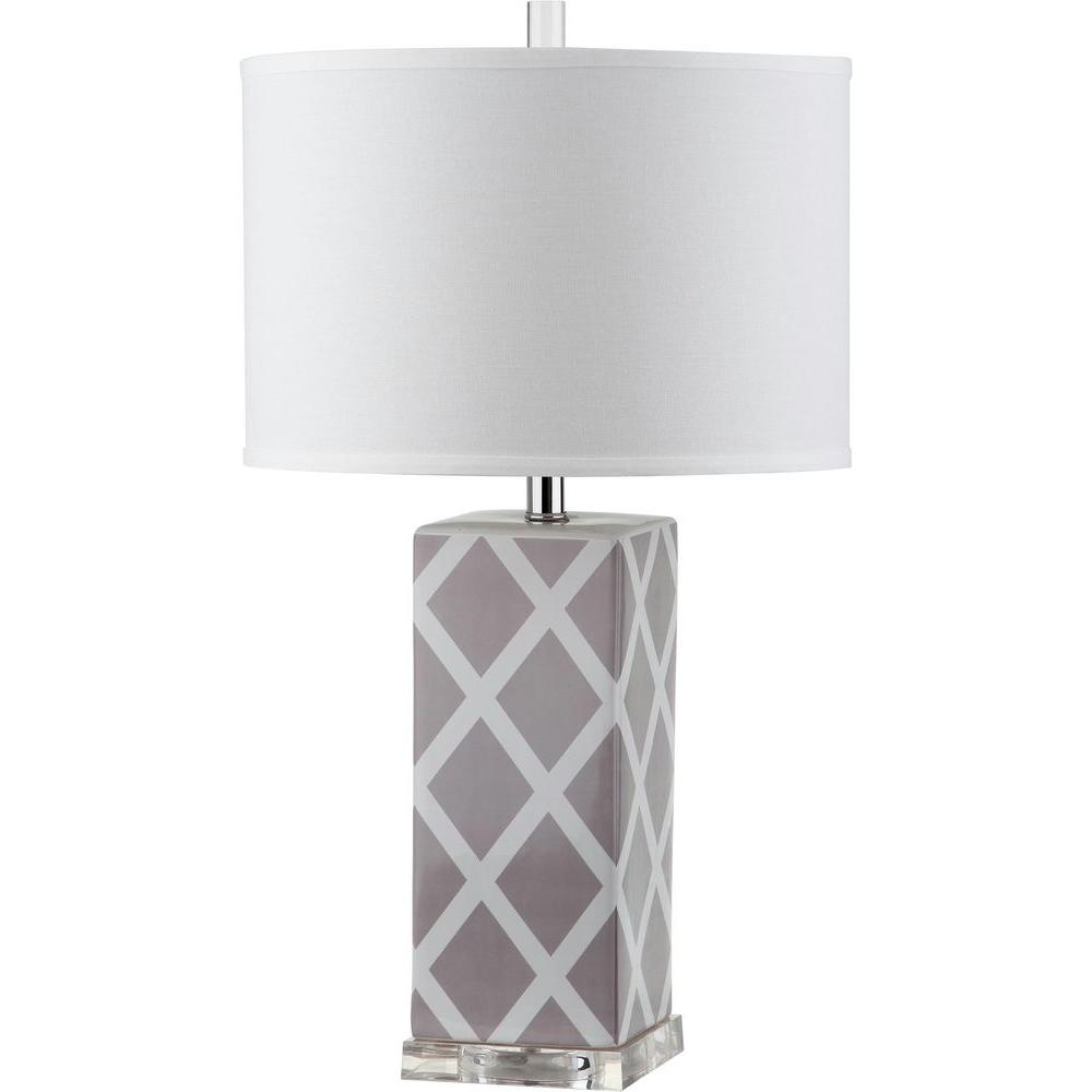 Safavieh Garden Lattice 27 In Grey Table Lamp With White Shade