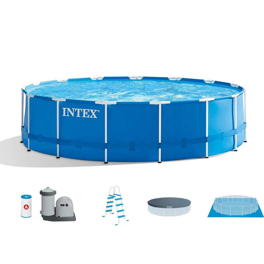 Intex 15 ft  x 48 in  Metal Frame Above Ground Swimming Pool Set with Pump  Cover Ladder